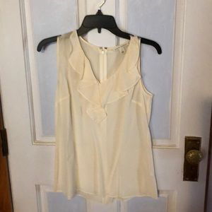 Banana Republic silk ruffled sleeveless shirt